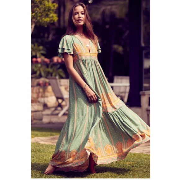 6483356b331 Jaase Boho Green Gold Spring Maxi Dress Frida NWT